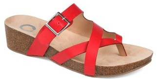 Brinley Co. Womens Crossover Strap Wedge Sandal