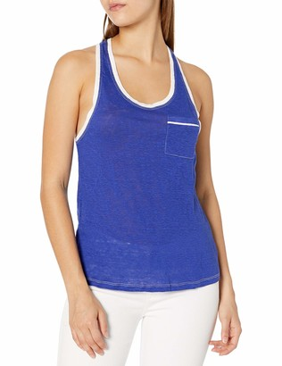 Tresics Women's Trendy Basic Junior Sleeveless Knit Tank Top with Front Pocket and Piping Detail