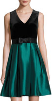 Taylor Velvet Shantung Party Dress, Black/Green