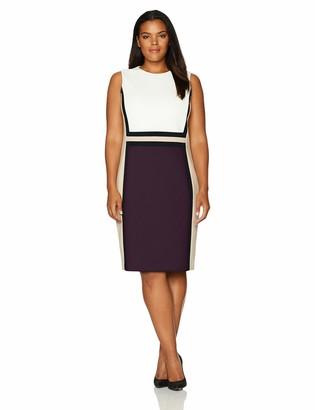 Calvin Klein Women's Size Sleeveless Color Block Sheath Dress