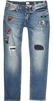 River Island MensBlue wash ripped badge Sid skinny jeans