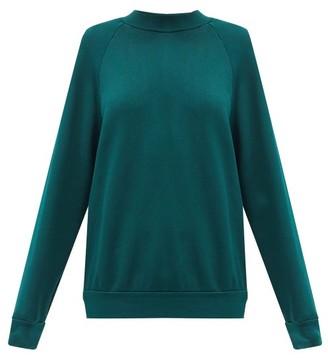 LES TIEN High-neck Brushed-back Cotton Sweatshirt - Green