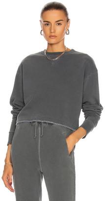 John Elliott Embroidered Snyder Cropped Crew Sweatshirt in Charcoal   FWRD
