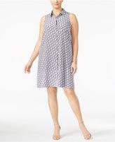 Alfani Plus Size Printed Trapeze Shirtdress, Only at Macy's