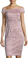 Eliza J Off-the-Shoulder Beaded-Waist Cocktail Sheath Dress