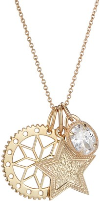 One And One Studio Gold Filagree Flower Pendant With Hand Engraved Star Disc & Oval Crystal Jewel Charm On Gold Chain