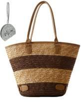 Micom Bohemian Stirpe Two-toned Straw Braid Summer Beach Tote Shoulder Handbags for Women,girls