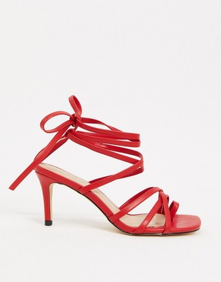 NA-KD ankle strap stileto sandals in red