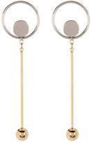 Argentovivo Two-Tone Disc Drop Ball & Bar Earrings