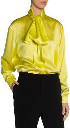 Balenciaga Silk Satin Tie-Neck Blouse