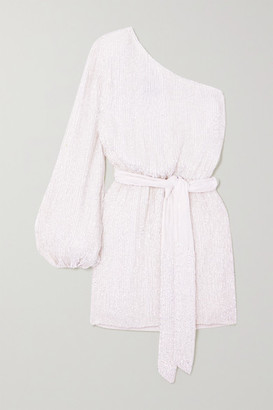retrofete Bridgette One-shoulder Velvet-trimmed Sequined Chiffon Mini Dress