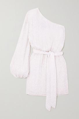 retrofete Bridgette One-shoulder Velvet-trimmed Sequined Chiffon Mini Dress - White