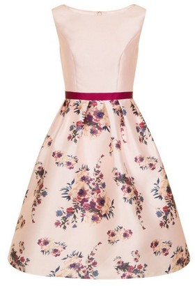 Dorothy Perkins Womens *Chi Chi London Pink Floral Print Midi Skater Dress, Pink