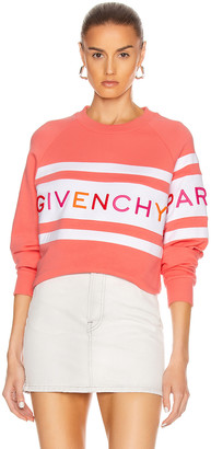 Givenchy Raglan Long Sleeve Sweatshirt in Coral & White | FWRD