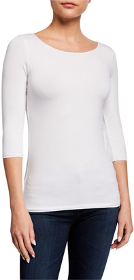 Majestic Filatures Soft Touch Marrow-Edge 3/4-Sleeve Boat-Neck Tee