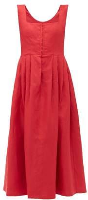 Gioia Bini Chiara Pleated Linen Midi Dress - Womens - Red