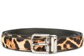 Dolce & Gabbana leopard print belt - men - Calf Leather/Viscose/Calf Hair - 95