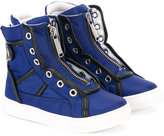 DSQUARED2 zipped hi-top sneakers - kids - Leather/Nylon/rubber - 24