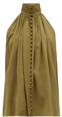 Zimmermann Super Eight High-neck Silk Top - Womens - Khaki