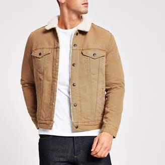 Levi's Mens River Island Beige Type 3 borg trim jacket
