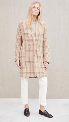 Vince Plaid Collarless Coat
