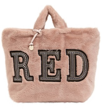 Red(V) Embellished Faux Fur Tote Bag