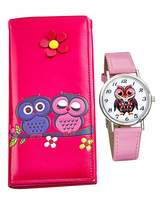 Fashion World Ladies Pink Owl Watch and Purse