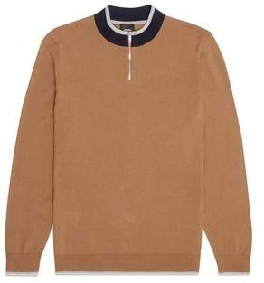 Mens Tobacco Turtle Zip Neck Knitted Jumper