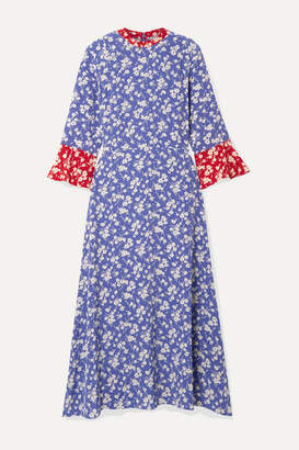 HVN Ashley Floral-print Silk Crepe De Chine Midi Dress - Blue