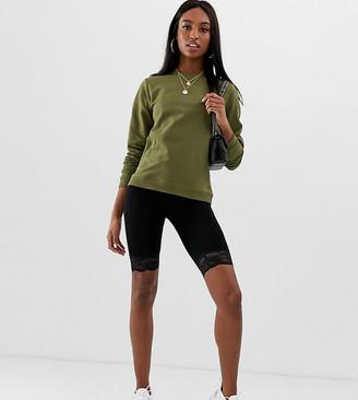 Asos Tall DESIGN Tall legging short with lace hem-Black