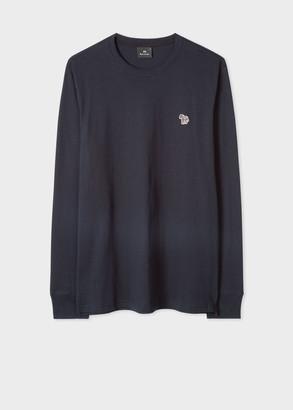 Paul Smith Men's Dark Navy Organic-Cotton Zebra Logo Long-Sleeve T-Shirt