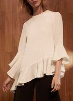 Alexis Stone Asymmetrical Top White