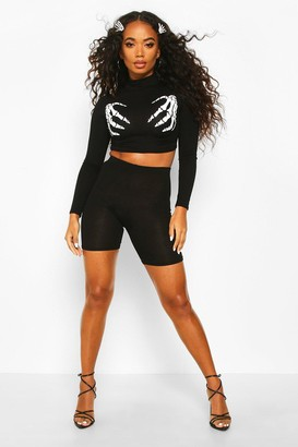 boohoo Petite Halloween Skeleton Hands High Neck Co-ord