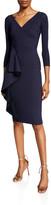 Chiara Boni Fadile V-Neck 3/4-Sleeve Dress with Side Ruffle Detail