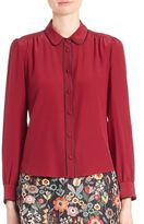 RED Valentino Silk Pleated Button Blouse
