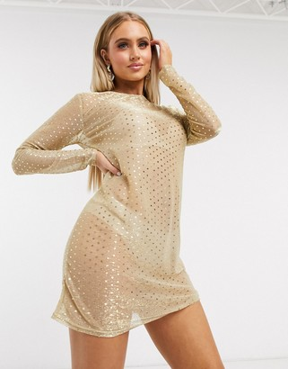 I SAW IT FIRST glitter mesh oversized t-shirt dress in gold