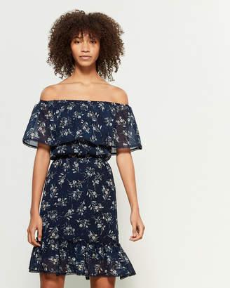 Apricot Floral Print Off-the-Shoulder Dress