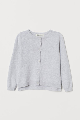 H&M Fine-knit Cotton Cardigan - Gray