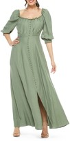 Gal Meets Glam Joanna Shirred Neck Button Front Maxi Dress