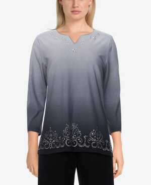 Thumbnail for your product : Alfred Dunner Women's Missy Easy Living Ombre Scroll Border Top