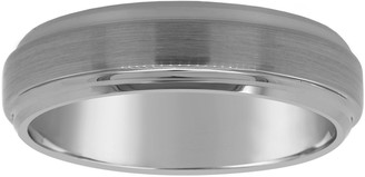 Men's Brushed 6mm Tungsten Wedding Band w/ Stepped Edge