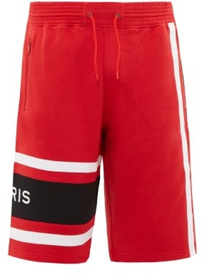 Givenchy Logo-embroidered Cotton-jersey Track Shorts - Black Red