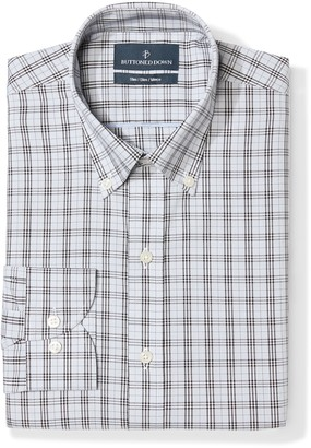 Buttoned Down Men's Slim Fit Spread Collar Pattern Non-Iron Dress Shirt