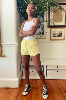 Topshop 90's Yellow Jersey Mini Runner Shorts