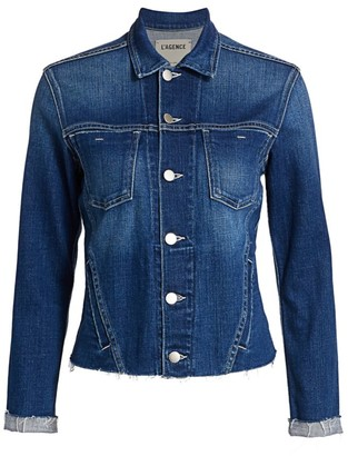 L'Agence Janelle Slim-Fit Distressed Denim Jacket