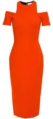 Victoria Beckham Cold-shoulder Stretch-ponte Midi Dress