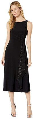 Lauren Ralph Lauren Lace-Trim Jersey Dress (Black) Women's Dress