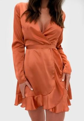 Missguided Rust Satin Ruffle Wrap Tea Dress