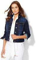New York & Co. Soho Jeans - Destroyed Denim Jacket - Dark Blue Wash
