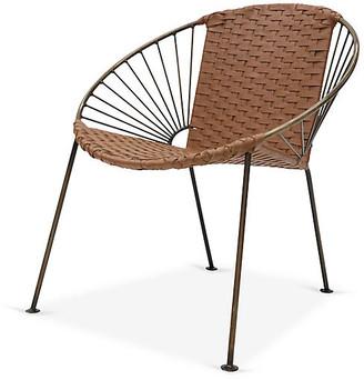 Mexa Ixtapa J Lounge Chair - Brass/Camel Brown Leather